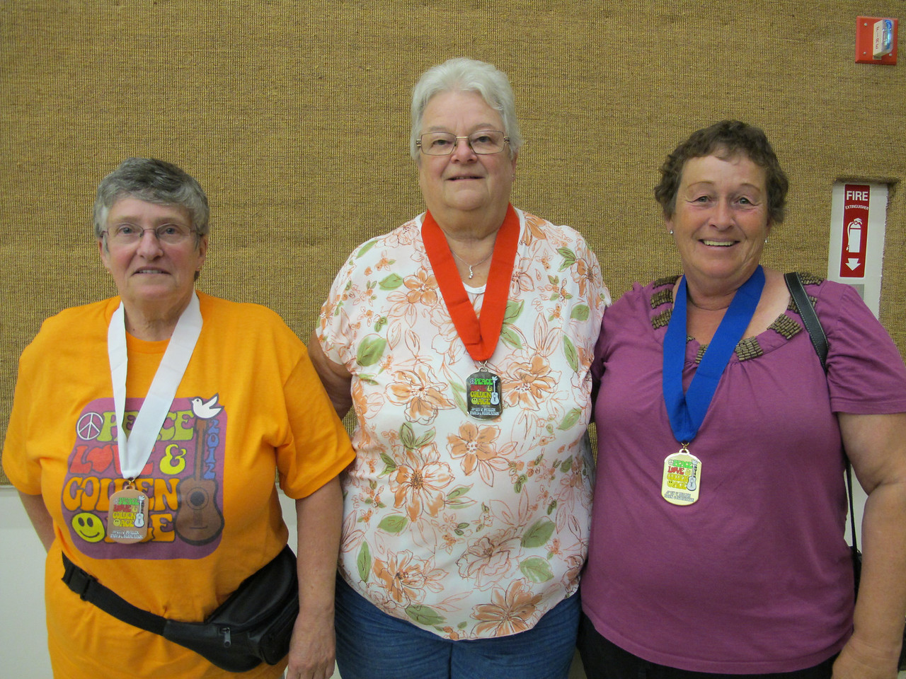 Women's Cribbage Winners 3rd to 1st Place (L-R) Bonnie Parsons, Doris Bauer, Sheryl Doell