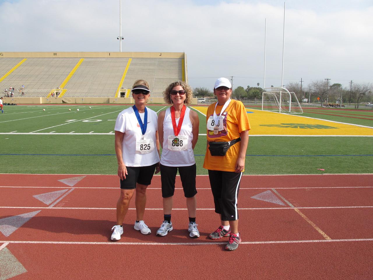 Racewalk Women 50-59 (L-R) 1st Place - Debra Glickley (Snow to Sun), 2nd Place - Debra Contestabile (Fiesta Village), 3rd Place - Alma Cavazos (McAllen).