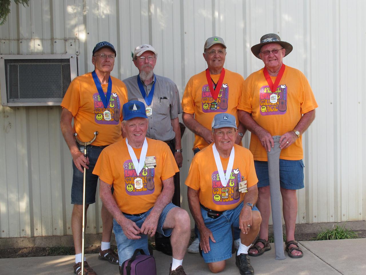 Shuffleboard Men's Doubles Amateur (L-R) Top Row 1st Place - Maurice Cadieux (McAllen Mobile) & Leo Porter (McAllen Mobile), 2nd Place - Stewart Douglas (McAllen Mobile) & Maynard Patten (McAllen Mobile) 3rd Place - Earl Lizer (Texas Trails) & Bob Dougherty (Texas Trails).