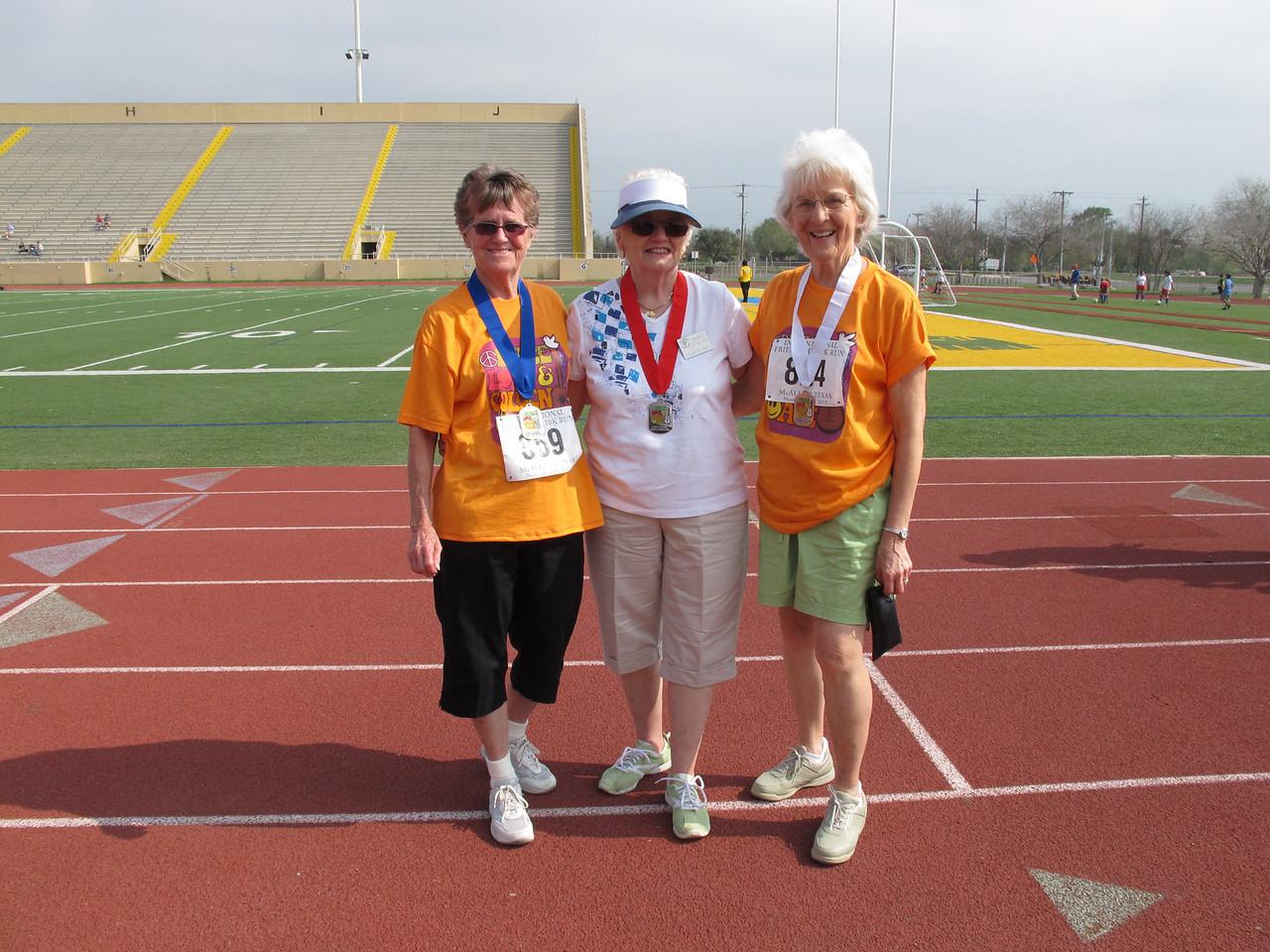 Racewalk Women 75-79 (L-R) 1st Place - Carlene Jacobs (Texas Trails), 2nd Place Faith Bradley (Tropic Star), 3rd Place - Mabel Viselka (Bit O Heaven)
