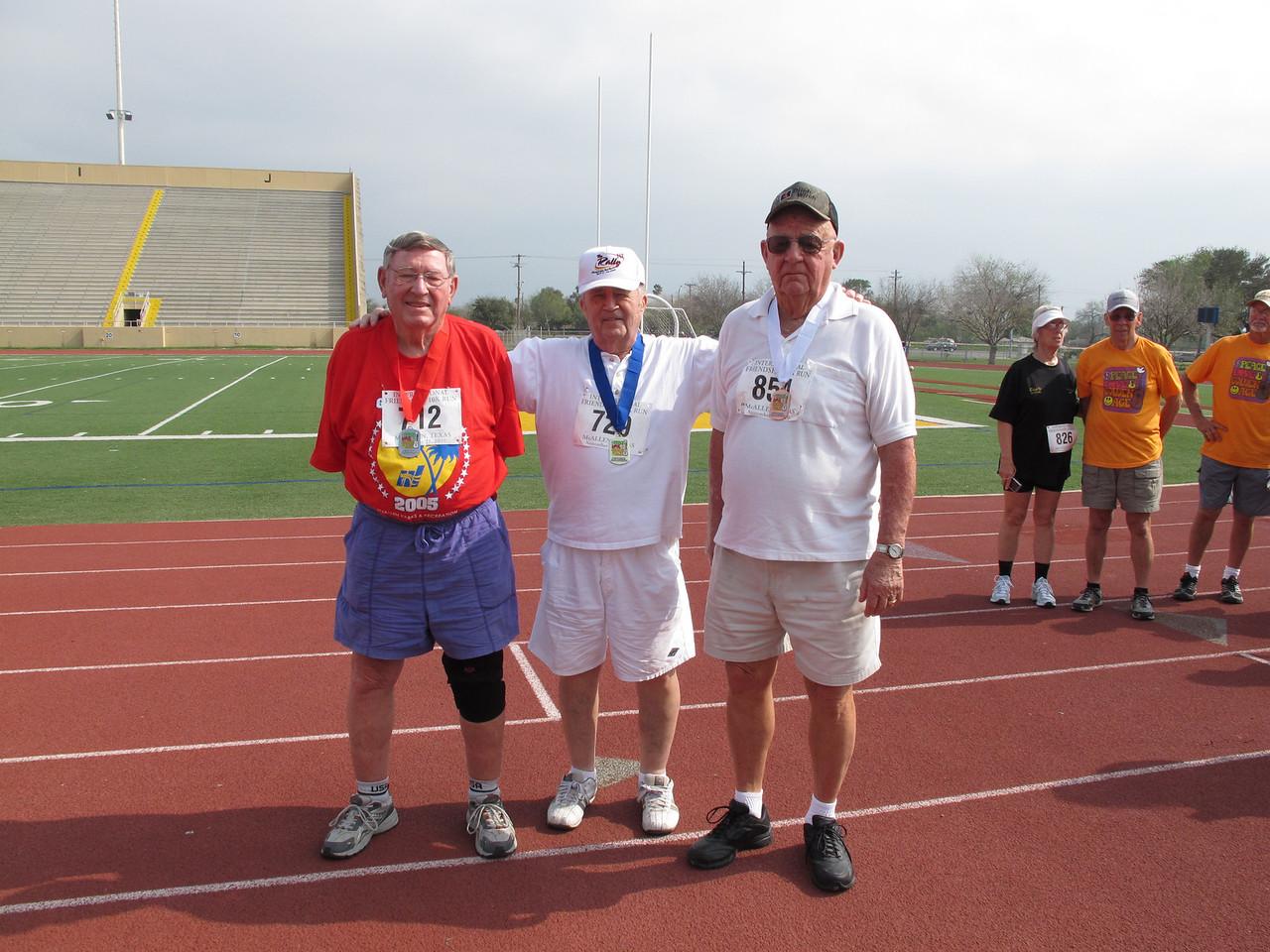 Racewalk Men 80+ (L-R) 2nd Place - Richard Hunt (Texan Mobile), 1st Place - Robert Brinton (Tropic Star), 3rd Place - Jack McNutt (Bit O Heaven)