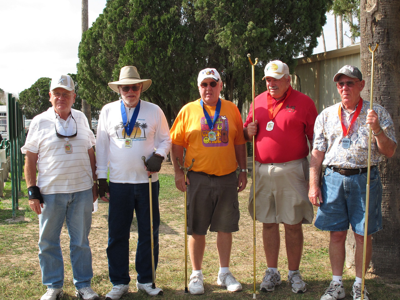 Shuffleboard Men's Doubles Expert (L-R) 3rd Place - Ed Yauchzee (Casa Del Sol) & (not pictured) Jim Thompson (Alamo Palms), 1st Place - Red Rudolph (Aladdin Village) & David Lamphere (Ranchero Village), 2nd Place - Jerry Carlisle (Pine to Palm) & Earl Doell (Pine to Palm)