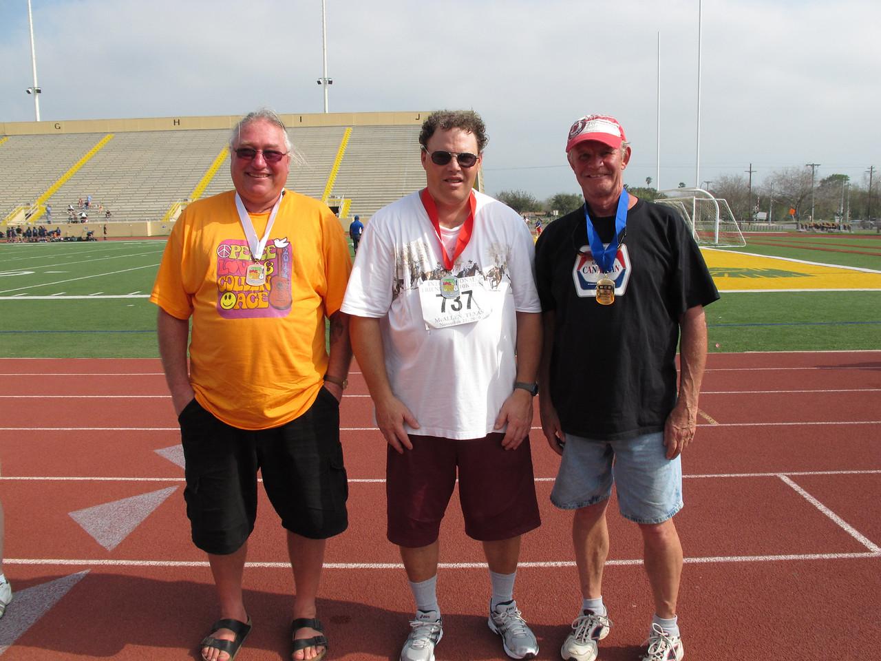 Racewalk Men 50-59 (L-R) 3rd Place - Bernard Steger (Snow to Sun), 2nd Place - Randy Boyer (Tropic Star), 1st Place - David Howard (Bit O Heaven)