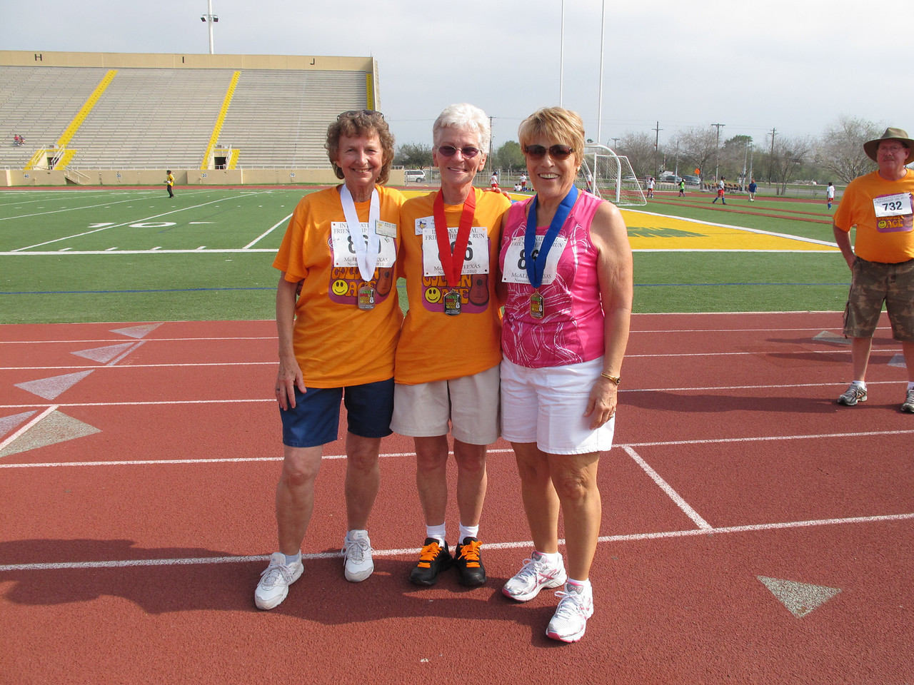 Racewalk Women 70-74 (L-R) 3rd Place - Shirley Shelton (McAllen Mobile), 2nd Place - Patty Yoder (El Valle Del Sol), 1st Place - Mary Ann Jamieson (Bit O Heaven)