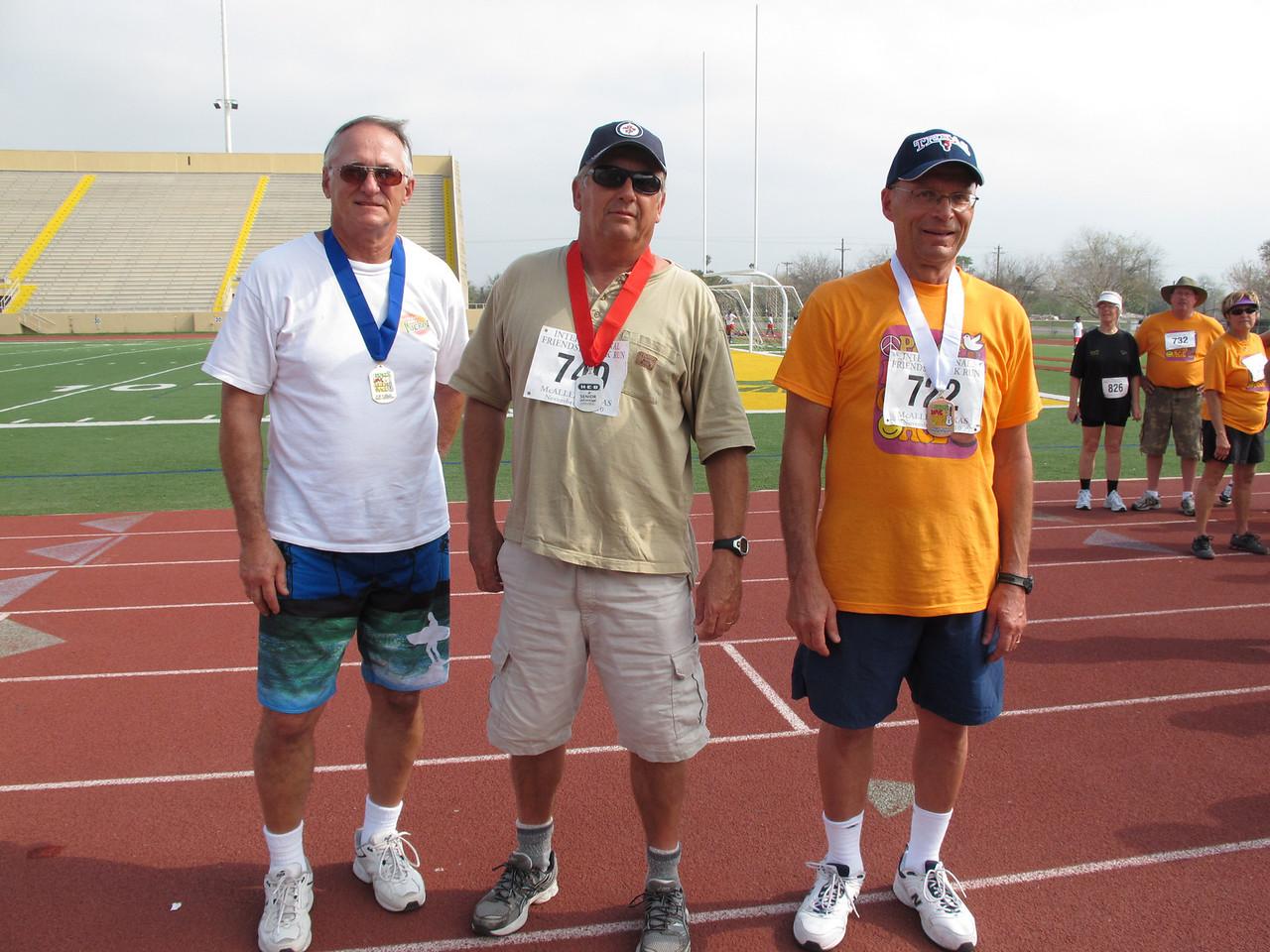 Racewalk Men 60-64 (L-R) 1st Place - Larry Konya (Leisure World), 2nd Place - Richard Glassock (Paradise Park), 3rd Place - Harold Billan (Texas Trails)