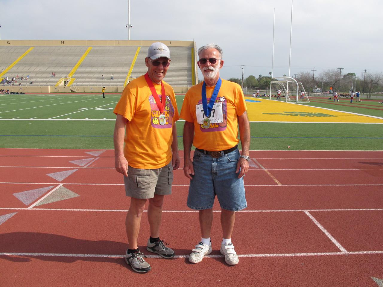 Racewalk Men 70-74 (L-R) 2nd Place - Art Cook (Snow to Sun), 1st Place - Cliff DeWitt (Holiday Village), 3rd Place - Not Pictured - Joseph Pantely (Snow to Sun)