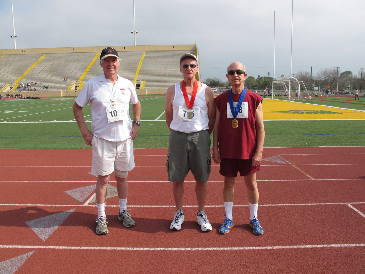 Racewalk Men 75-79 (L-R) 3rd Place - Allan Savage (Texan Mobile), 2nd Place - Kenneth Hart (Enchanted Valley), 1st Place - Norman Izard (Independent)