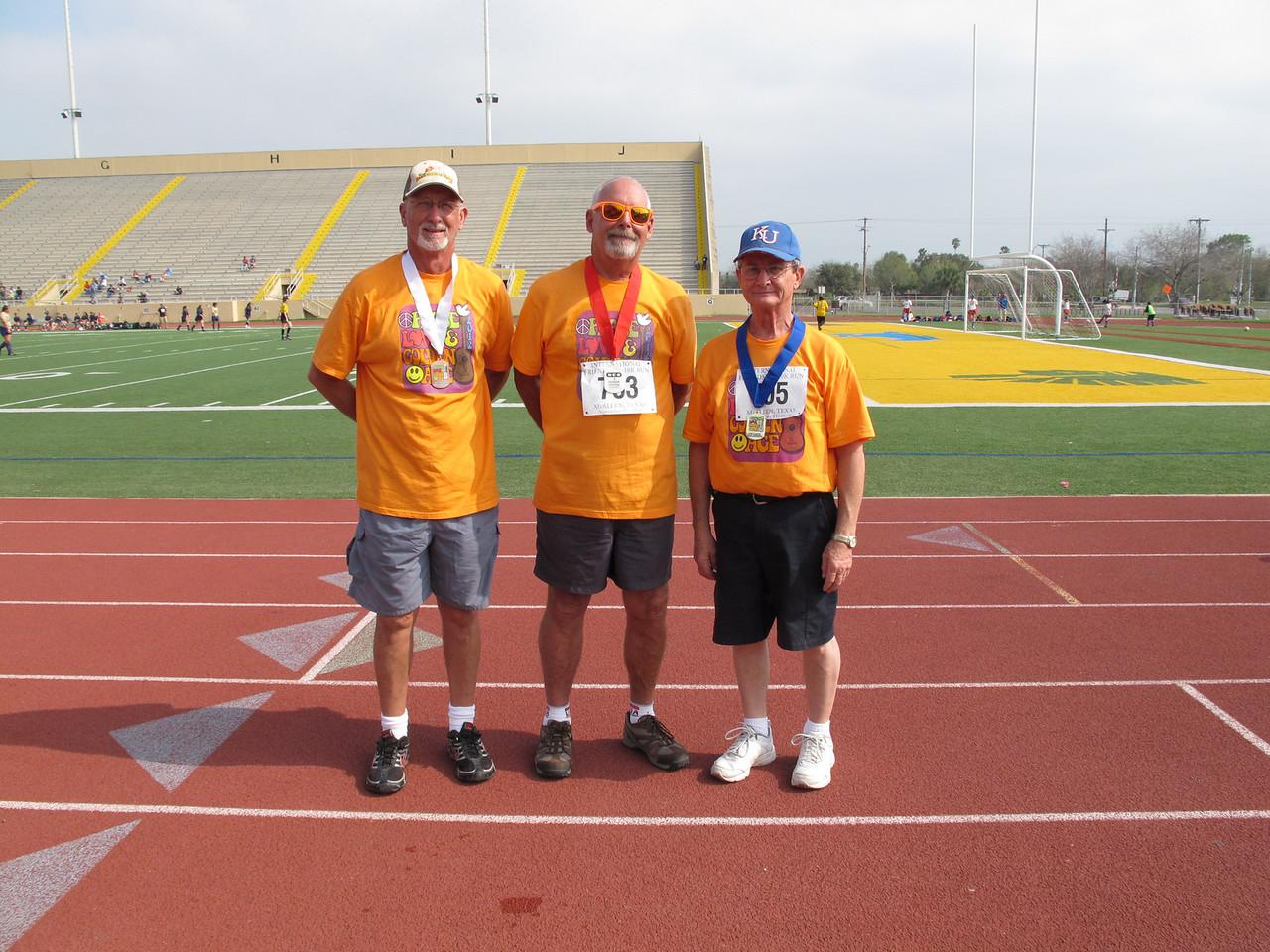 Racewalk Men 65-69 (L-R) 3rd Place - Roger Leake (Snow to Sun), 2nd Place - David Haug (Fiesta Village), 1st Place - Don Mitchell (Bit O Heaven)