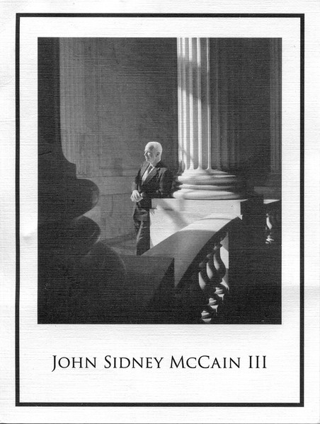 This card was distributed at ceremony where John McCain was lying in state in the US Capitol, Friday. Thousands stood in the rain and later hot sun to pay their respects to the Commander.