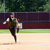 CAROLINE BONNIVIER SNYDER -- THE BERKSHIRE EAGLE<br /> McCann's Megan Goyette pitches in the game against Turners Falls held at Sortino Field at UMass on Saturday morning.