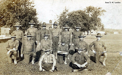 Corp. Perry Hankins (front row, on right) with recruits - Jefferson, MO - 9/24/1919