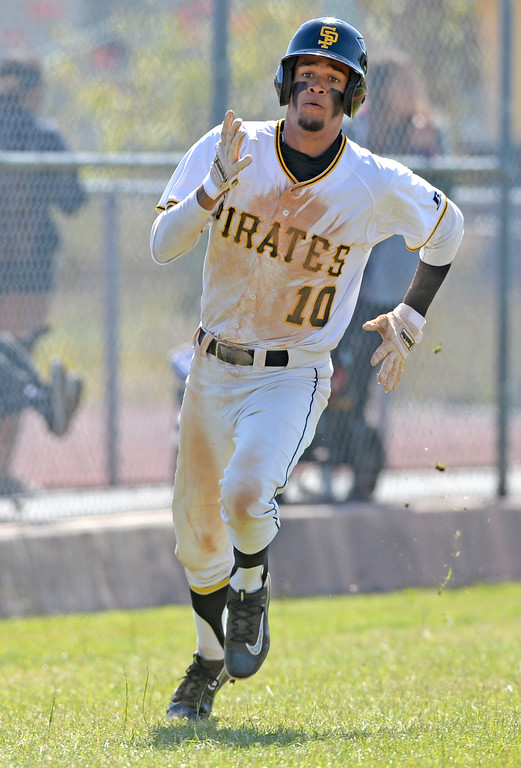 . San Pedro\'s Noah Ford (10) rounds third and heads for home against University in a first round game of Los Angeles City Section Division 1 baseball playoffs Tuesday, May 16, 2017, San Pedro, CA. (Photo by Steve McCrank, Daily Breeze/SCNG)