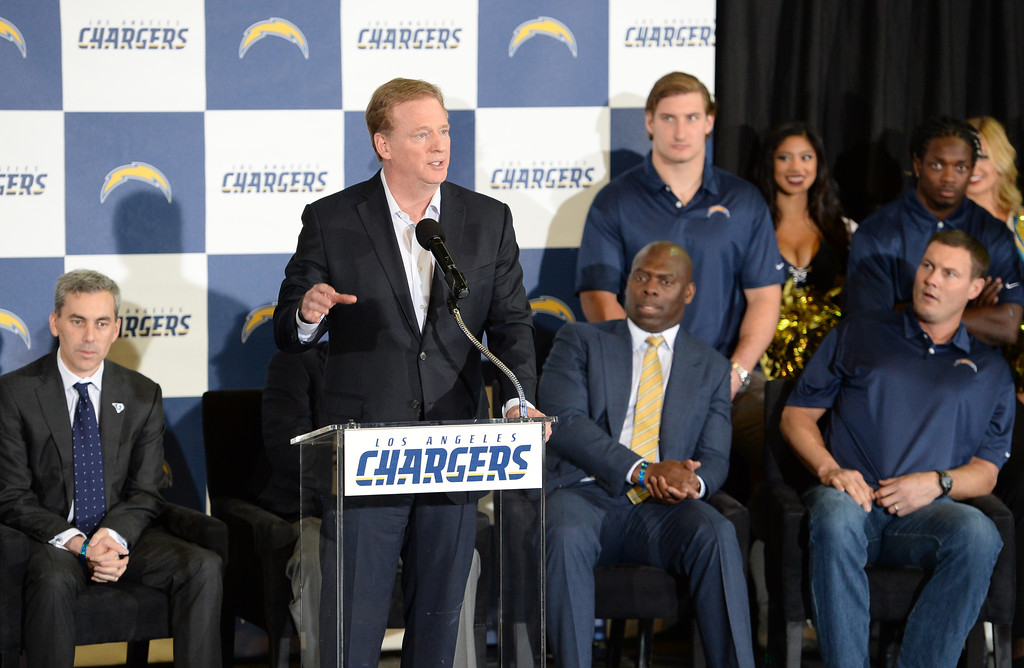 . NFL Commissioner Roger Goodell speaks during a ceremony that was held at the Forum to welcome the Los Angeles Chargers back Wednesday, January 18, 2017, Inglewood, CA.   In attendance was NFL Commissioner Roger Goodell, Chargers Chairman Dean Spanos,  quarterback Philip Rivers, coach Anthony Lynn and many others. Photo by Steve McCrank, Daily Breeze/SCNG