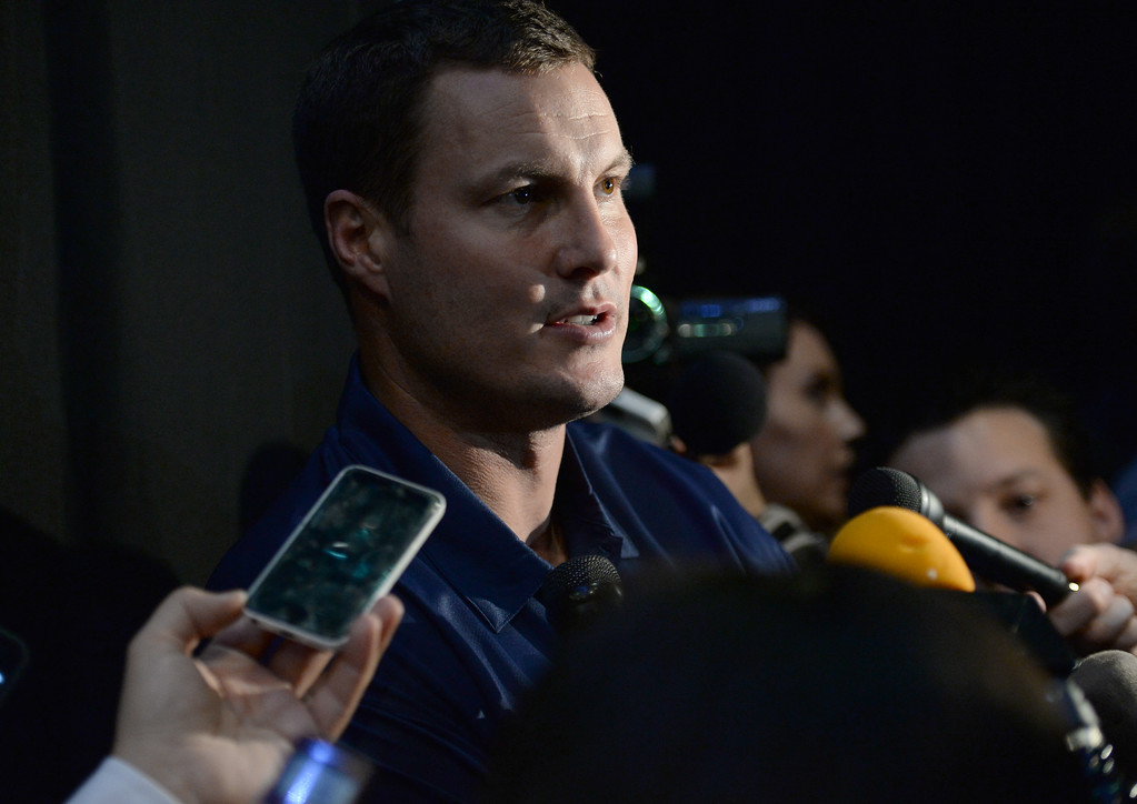 . A ceremony was held at the Forum to welcome the Los Angeles Chargers back Wednesday, January 18, 2017, Inglewood, CA. Star quarterback Philip Rivers answers reporters\' questions after the ceremony. Also in attendance was NFL Commissioner Roger Goodell, Chargers Chairman Dean Spanos,  quarterback Philip Rivers, coach Anthony Lynn and many others. Photo by Steve McCrank, Daily Breeze/SCNG