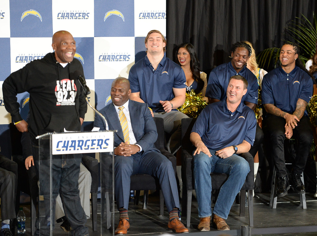 . Popular radio DJ Big Boy gets the crowd, and the Chargers, laughing during a ceremony that was held at the Forum to welcome the Los Angeles Chargers back Wednesday, January 18, 2017, Inglewood, CA. On stage were Chargers players including, front from left: coach Anthony Lynn and quarterback Philip Rivers. Rear row: Joey Bosa, Melvin Gordon, Jason Verrett, and Brandon Mebane. Also in attendance was NFL Commissioner Roger Goodell and Chargers Chairman Dean Spanos.  Photo by Steve McCrank, Daily Breeze/SCNG