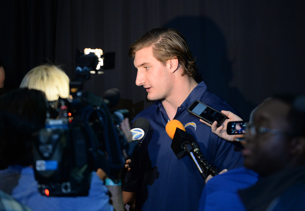 . A ceremony was held at the Forum to welcome the Los Angeles Chargers back Wednesday, January 18, 2017, Inglewood, CA. Star defensive end Joey Bosa speaks to the media.  In attendance was NFL Commissioner Roger Goodell, Chargers Chairman Dean Spanos,  quarterback Philip Rivers, coach Anthony Lynn and many others. Photo by Steve McCrank, Daily Breeze/SCNG