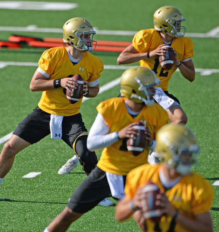 . UCLA quarterbacks, including Josh Rosen, second from top, go through passing drills during football practice at Spaulding Field on campus Friday, August 04, 2017, Westwood, CA.   (Photo by Steve McCrank, Daily Breeze/SCNG)