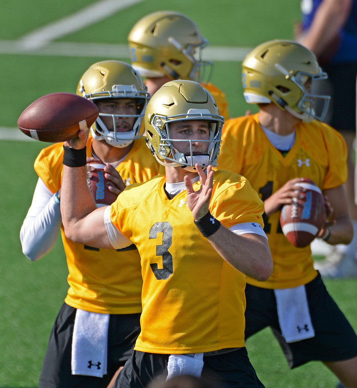 . UCLA quarterback Josh Rosen (3) completes a passing drill during football practice at Spaulding Field on campus Friday, August 04, 2017, Westwood, CA.   (Photo by Steve McCrank, Daily Breeze/SCNG)