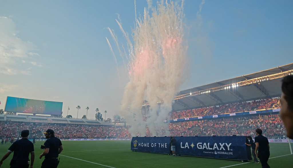 . Fireworks begin the game between LA Galaxy and Manchester United in an international friendly soccer game at the StubHub Center Saturday, July 15, 2017, Carson, CA.  Manchester won 5-2. (Photo by Steve McCrank, Daily Breeze/SCNG)
