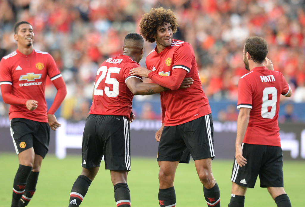 . Manchester United\'s Marouane Fellaini (27) celebrates his goal on the LA Galaxy in an international friendly soccer game at the StubHub Center Saturday, July 15, 2017, Carson, CA.  Manchester led 3-0 at halftime. (Photo by Steve McCrank, Daily Breeze/SCNG)