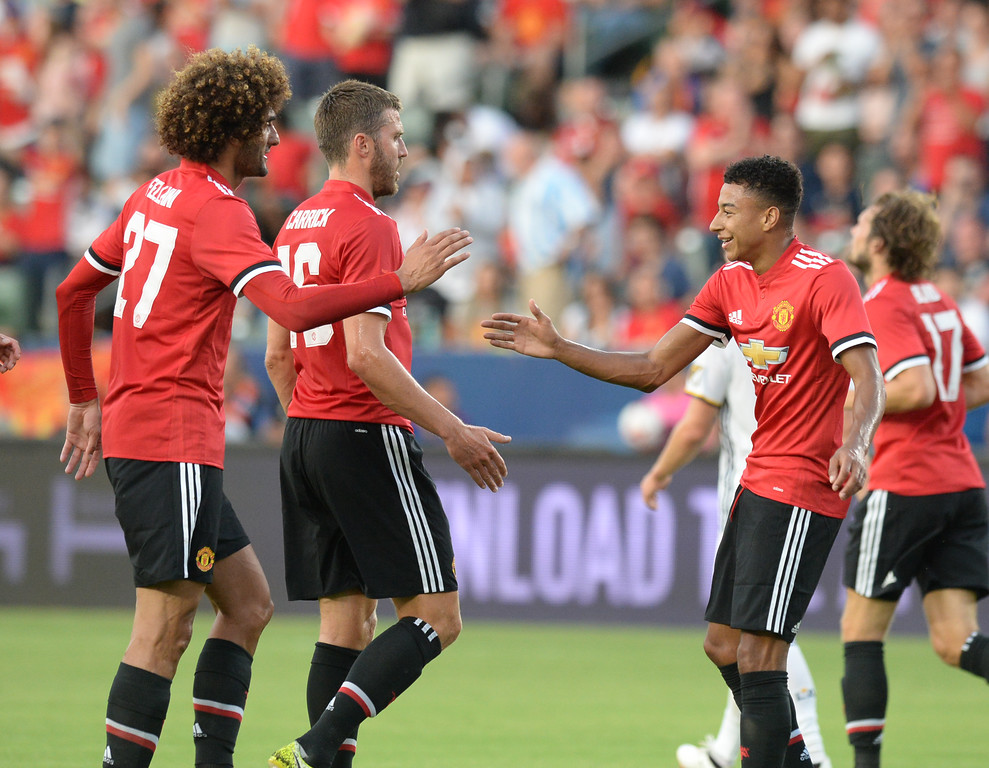 . Manchester United\'s Marouane Fellaini (27) xelebrates his goal with Jesse Lingard (14) on the LA Galaxy in an international friendly soccer game at the StubHub Center Saturday, July 15, 2017, Carson, CA.  Manchester led 3-0 at halftime. (Photo by Steve McCrank, Daily Breeze/SCNG)