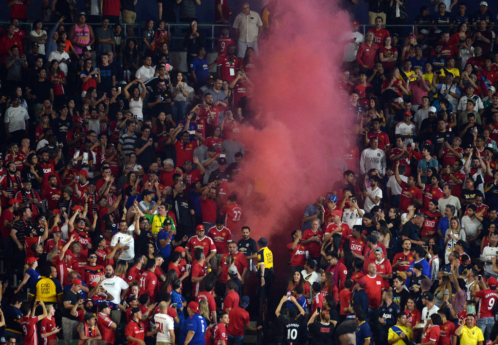 . Red smoke rises from the stands as Manchester United scores another goal on the LA Galaxy in an international friendly soccer game at the StubHub Center Saturday, July 15, 2017, Carson, CA.  Manchester won 5-2. (Photo by Steve McCrank, Daily Breeze/SCNG)