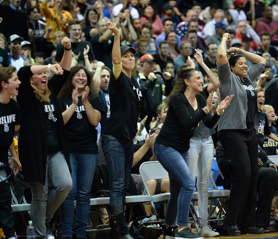 . Bishop Montgomery\'s fans erupt as their team nears victory over Chino Hills in a CIF State Open Division boys basketball game played at El Camino College Tuesday, March 14, 2017, Torrance, CA. Bishop Montgomery won 87-80. Photo by Steve McCrank, Daily News/SCNG