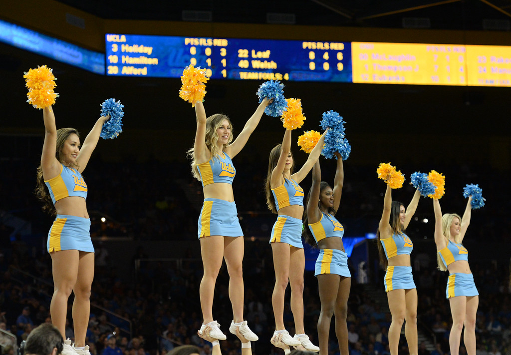 . UCLA\'s song team performs during a time out against Oregon State in a PAC-12 men\'s basketball game at Pauley Pavilion Sunday, February 12, 2017, Westwood, CA.  UCLA won 78-60. UCLA BRUINS vs. OREGON STATE BEAVERS Photo by Steve McCrank, Daily Breeze/SCNG
