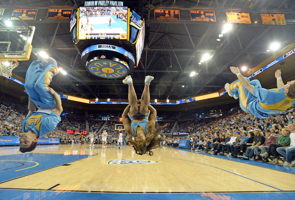 . UCLA cheerleaders do back flips for each free throw sunk against Oregon State in a PAC-12 men\'s basketball game at Pauley Pavilion Sunday, February 12, 2017, Westwood, CA.  UCLA won 78-60. UCLA BRUINS vs. OREGON STATE BEAVERS Photo by Steve McCrank, Daily Breeze/SCNG