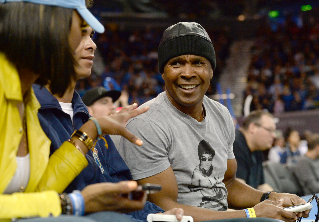 . Famed boxer Sugar Ray Leonard was court side for UCLA versus Oregon State in a PAC-12 men\'s basketball game at Pauley Pavilion Sunday, February 12, 2017, Westwood, CA.  UCLA won 78-60. UCLA BRUINS vs. OREGON STATE BEAVERS Photo by Steve McCrank, Daily Breeze/SCNG