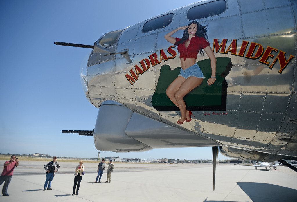 . The Liberty Foundation is bringing the WWII era B-17 bomber aircraft to the Long Beach Daugherty Field Airport for it\'s 2017 Salute to Veterans tour Monday, April 10, 2017, Long Beach.   The public can buy flights on the airplane Saturday and Sunday April 15-16, or take a ground tour for free. (Photo by Steve McCrank, Press Telegram/SCNG)