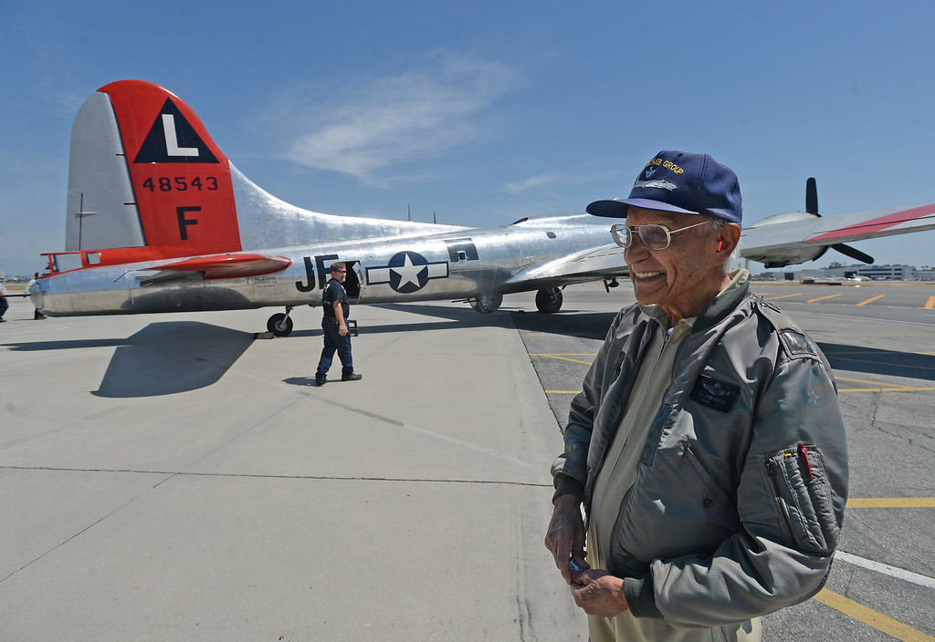 . The Liberty Foundation is bringing the WWII era B-17 bomber aircraft to the Long Beach Daugherty Field Airport for it\'s 2017 Salute to Veterans tour Monday, April 10, 2017, Long Beach.   The public can buy flights on the airplane Saturday and Sunday April 15-16, or take a ground tour for free.  US Army Air Corp 100th Bomb Group co-pilot Hank Cervantes took a ride aboard the B-17, which was the same aircraft he co-piloted over Germany during WWII. Cervantes and his crew survived an intentional collision by a German airplane which nearly severed the tail of the aircraft. (Photo by Steve McCrank, Press Telegram/SCNG)