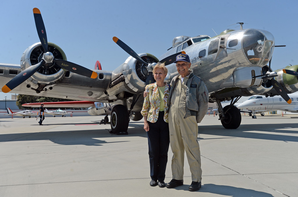 . The Liberty Foundation is bringing the WWII era B-17 bomber aircraft to the Long Beach Daugherty Field Airport for it\'s 2017 Salute to Veterans tour Monday, April 10, 2017, Long Beach.   The public can buy flights on the airplane Saturday and Sunday April 15-16, or take a ground tour for free.  US Army Air Corp 100th Bomb Group co-pilot Hank Cervantes and Nancy Kahn, a veteran flight nurse from the Vietnam era, took a ride aboard the B-17, which was the same aircraft he co-piloted over Germany during WWII. Cervantes and his crew survived an intentional collision by a German airplane which nearly severed the tail of the aircraft. (Photo by Steve McCrank, Press Telegram/SCNG)
