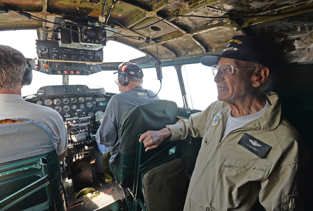 . The Liberty Foundation is bringing the WWII era B-17 bomber aircraft to the Long Beach Daugherty Field Airport for it\'s 2017 Salute to Veterans tour Monday, April 10, 2017, Long Beach.   The public can buy flights on the airplane Saturday and Sunday April 15-16, or take a ground tour for free.  US Army Air Corp 100th Bomb Group co-pilot Hank Cervantes takes a ride aboard the B-17, which was the same aircraft he co-piloted over Germany during WWII. Cervantes and his crew survived an intentional collision by a German airplane which nearly severed the tail of the aircraft. (Photo by Steve McCrank, Press Telegram/SCNG)