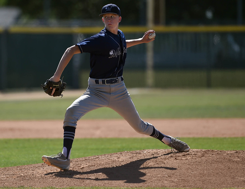 . Mayfair\'s Landon Anderson pitching on Friday afternoon in a Suburban League game, at Bellflower High School.  Bellflower April 22, 2016. (Photo by Brittany Murray / SCNG)