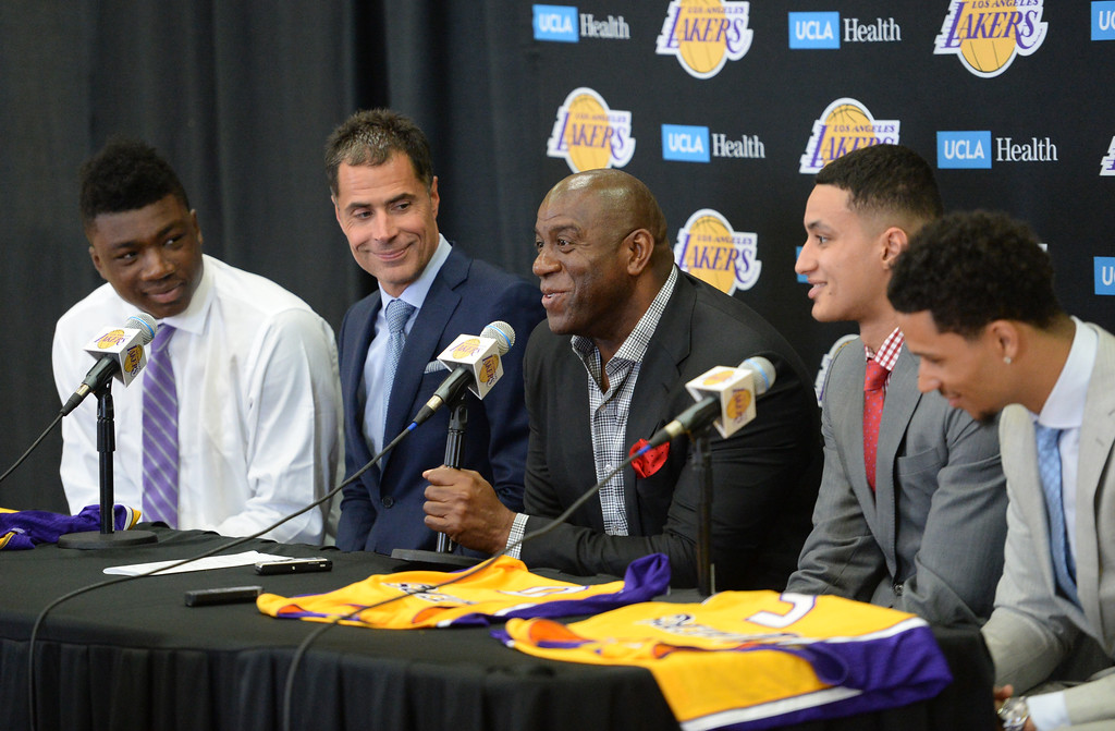 . The Los Angeles Lakers introduced three more players drafted to the team that include, from right: Josh Hart (Villanova), Kyle Kuzma (Utah) and Thomas Bryant (Indiana) during a press conference at the Lakers\' training facility Thursday, June 29, 2017, El Segundo, CA.   Magic Johnson, center, enthusiastically talks about his new players. (Photo by Steve McCrank, Daily Breeze/SCNG)
