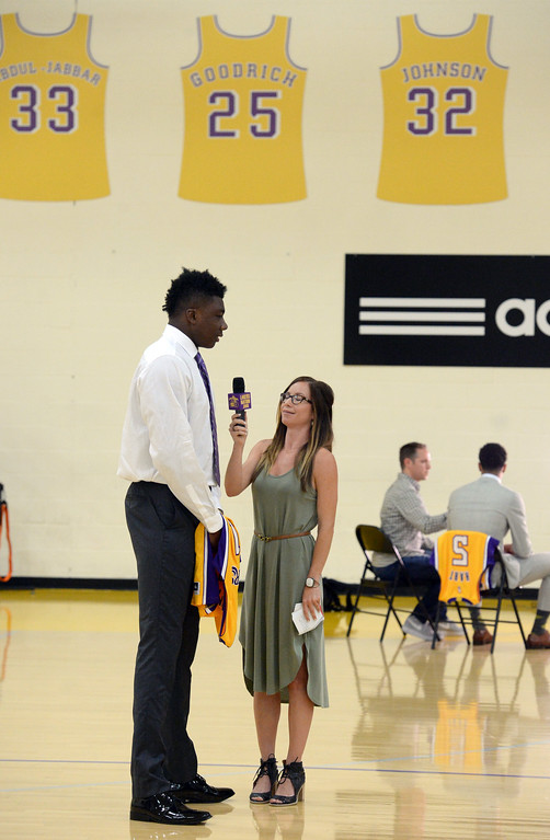 . The Los Angeles Lakers introduced three more players drafted to the team that include, from right: Josh Hart (Villanova), Kyle Kuzma (Utah) and Thomas Bryant (Indiana) during a press conference at the Lakers\' training facility Thursday, June 29, 2017, El Segundo, CA.  Thomas Bryant is interviewed by Lakers Nation. (Photo by Steve McCrank, Daily Breeze/SCNG)