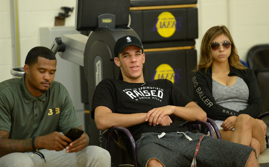 . The Los Angeles Lakers introduced three more players drafted to the team that include, from right: Josh Hart (Villanova), Kyle Kuzma (Utah) and Thomas Bryant (Indiana) during a press conference at the Lakers\' training facility Thursday, June 29, 2017, El Segundo, CA.  Lonzo Ball made an appearance to watch the announcement of his new teammates. (Photo by Steve McCrank, Daily Breeze/SCNG)