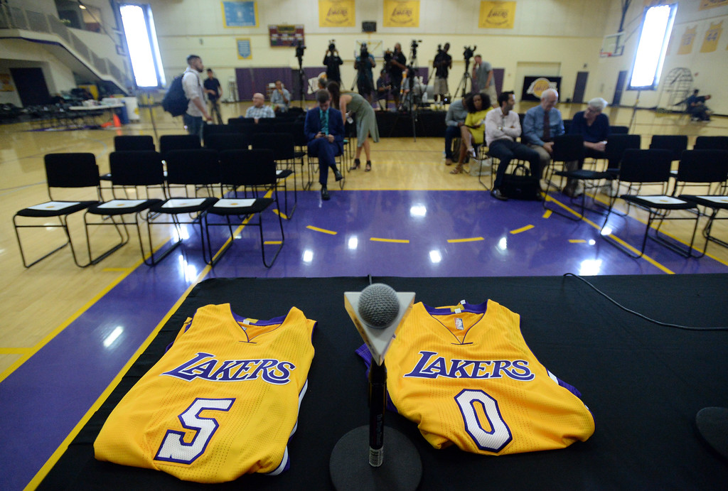 . The Los Angeles Lakers introduced three more players drafted to the team that include, from right: Josh Hart (Villanova), Kyle Kuzma (Utah) and Thomas Bryant (Indiana) during a press conference at the Lakers\' training facility Thursday, June 29, 2017, El Segundo, CA.   Hart\'s (#5) and Kuzma\'s (#0) jerseys await them for the start of the press conference. (Photo by Steve McCrank, Daily Breeze/SCNG)