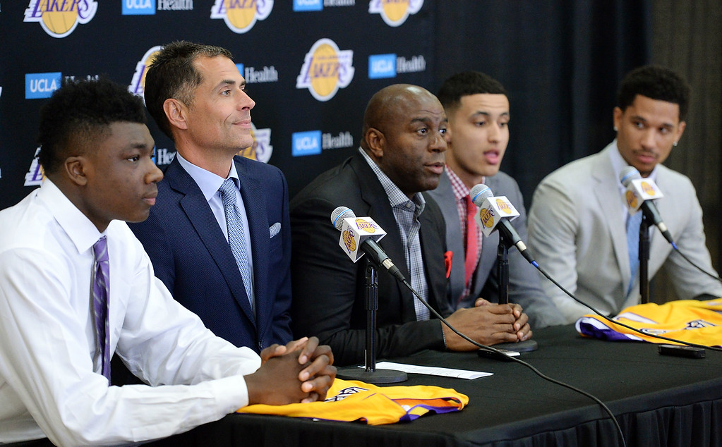 . The Los Angeles Lakers introduced three more players drafted to the team that include, from right: Josh Hart (Villanova), Kyle Kuzma (Utah) and Thomas Bryant (Indiana) during a press conference at the Lakers\' training facility Thursday, June 29, 2017, El Segundo, CA.   (Photo by Steve McCrank, Daily Breeze/SCNG)