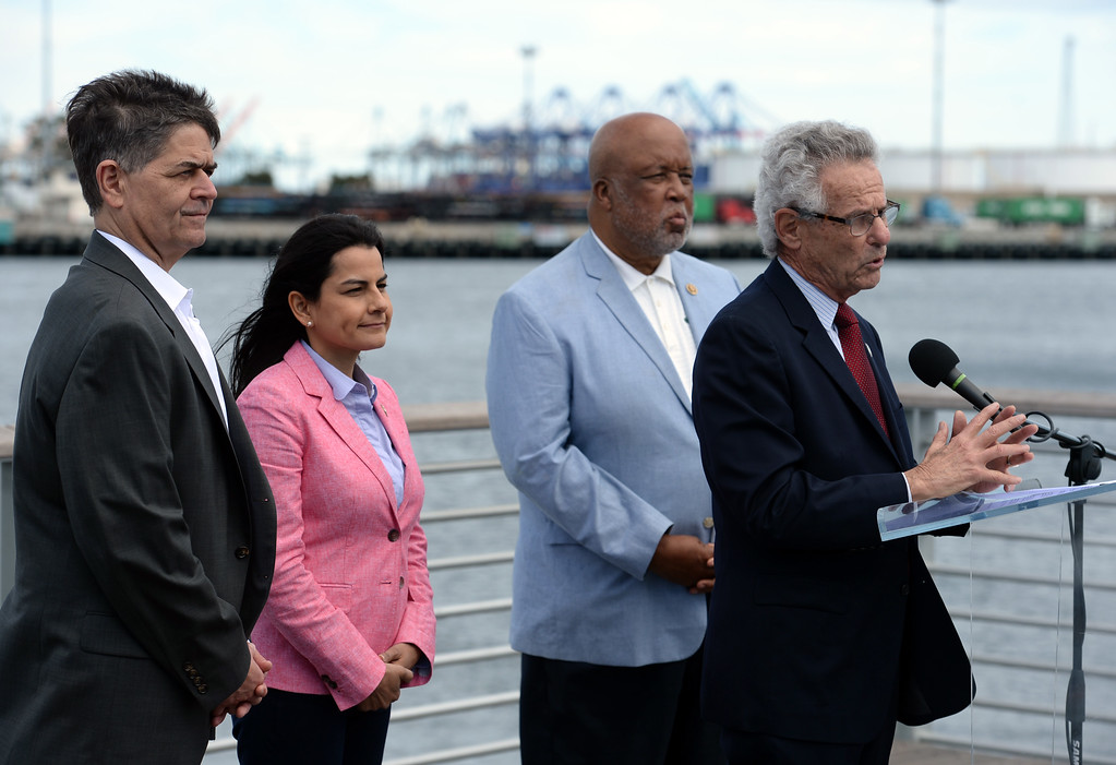 . Alan Lowenthal, speaking, and members, led by Rep. Nanette Barragan, second from left, of the House Homeland Security Committee held a press conference to discuss their inspection tour of the nation\'s busiest port complex and security Monday, April 17, 2017, San Pedro.  Congress members from left to right: Filemon Vela, Barragan, Bennie Thompson and Alan Lowenthal. (Photo by Steve McCrank, Daily Breeze/SCNG)