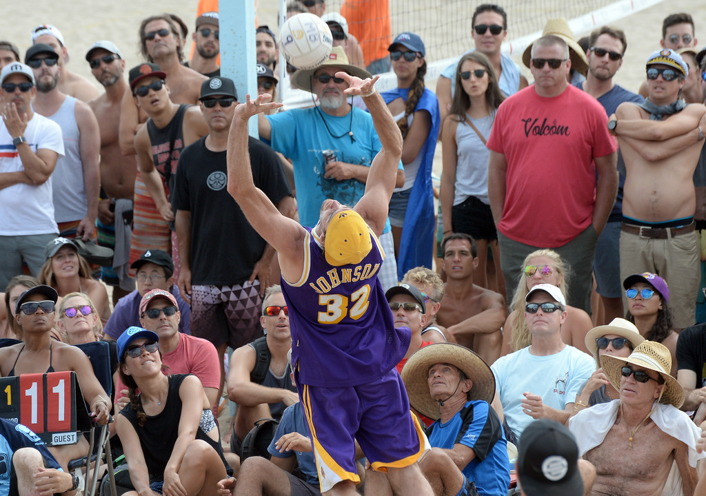 . Team Fletch has to leave the court to make a set in the finals of the Charlie Saikley 6-Man Beach Volleyball tournament Saturday, August 05, 2017, Manhattan Beach, CA.  Team Fletch won the men\'s open competition and Horny Unicorny won the women\'s. (Photo by Steve McCrank, Daily Breeze/SCNG)