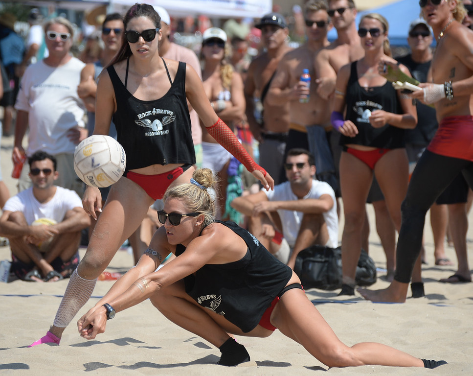 . Rock & Brews makes a dig in the finals of the Charlie Saikley 6-Man Beach Volleyball tournament Saturday, August 05, 2017, Manhattan Beach, CA.  Team Fletch won the men\'s open competition and Horny Unicorny won the women\'s. (Photo by Steve McCrank, Daily Breeze/SCNG)