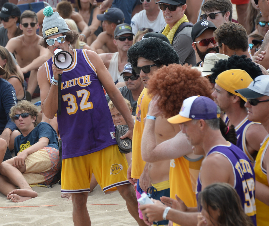 . Always with the megaphone, Team Fletch rallies in the finals of the Charlie Saikley 6-Man Beach Volleyball tournament Saturday, August 05, 2017, Manhattan Beach, CA.  Team Fletch won the men\'s open competition and Horny Unicorny won the women\'s. (Photo by Steve McCrank, Daily Breeze/SCNG)