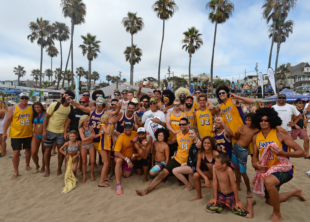 . Team Fletch celebrates their win in the finals of the Charlie Saikley 6-Man Beach Volleyball tournament Saturday, August 05, 2017, Manhattan Beach, CA.  Team Fletch won the men\'s open competition and Horny Unicorny won the women\'s. (Photo by Steve McCrank, Daily Breeze/SCNG)