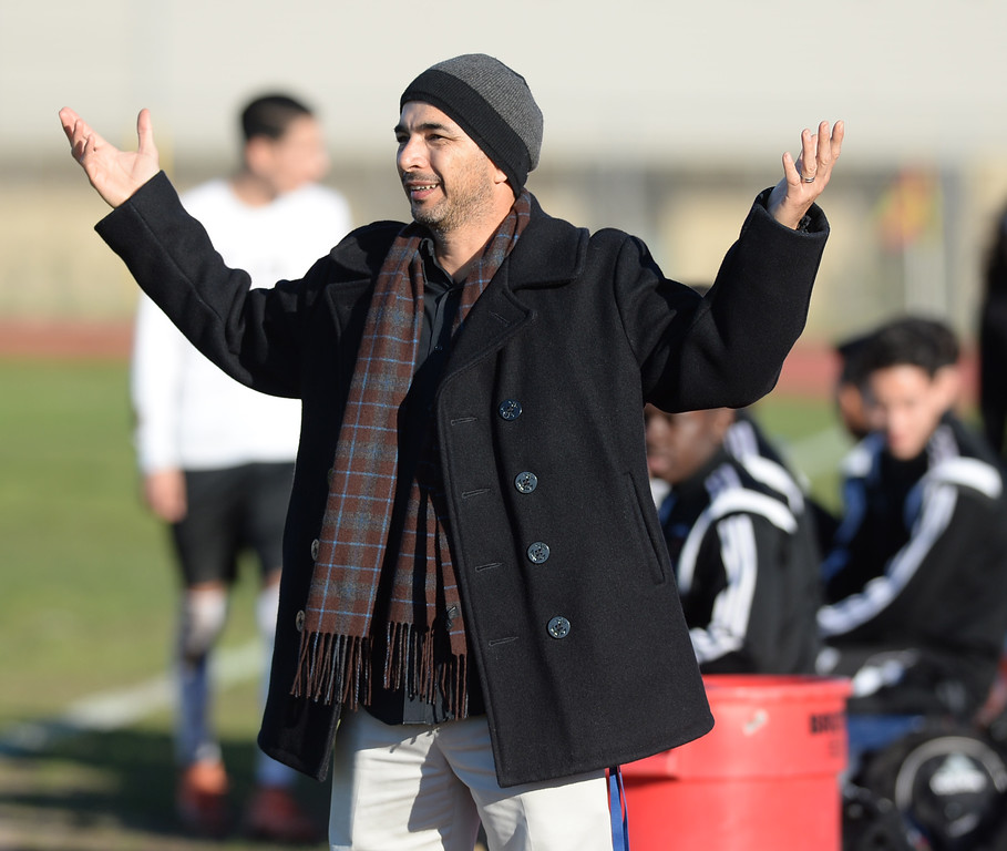 . Lawndale coach Angel Mendez doesn\'t like the call against Hawthorne in an Ocean League soccer game Wednesday, January 25, 2017, Lawndale, CA.   Photo by Steve McCrank, Daily Breeze/SCNG