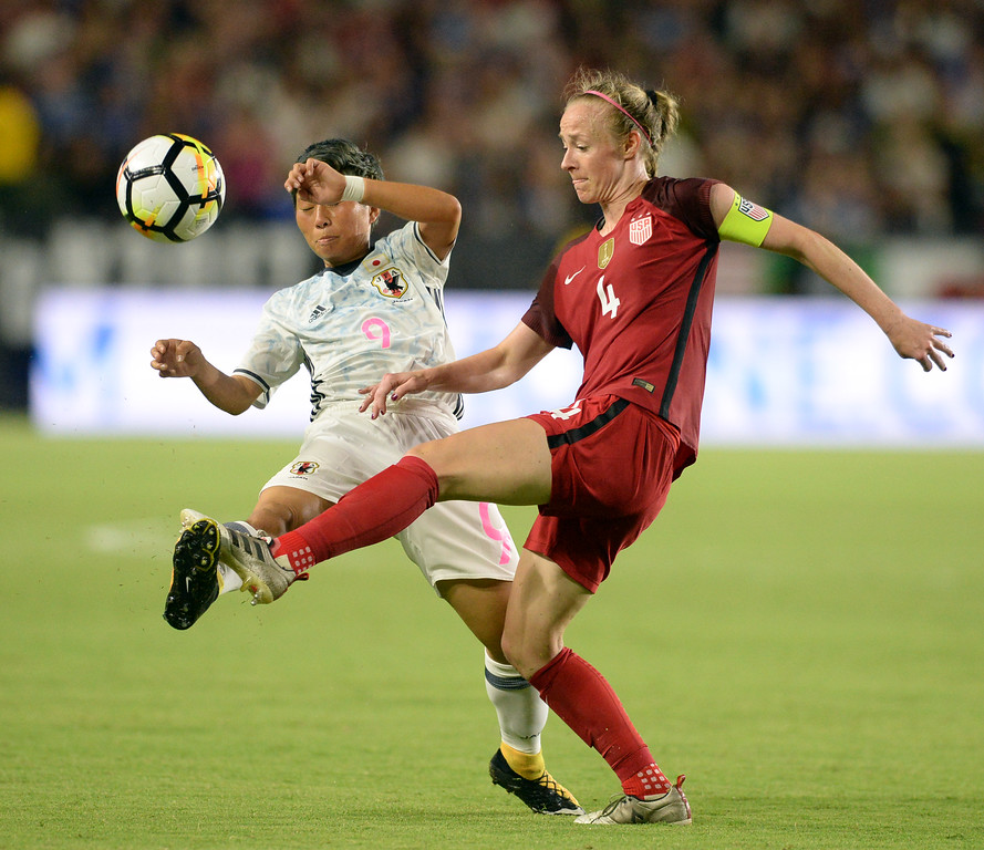 . USA\'s Becky Sauerbrunn (4) clears the ball out past Japan\'s Kumi Yokoyama (9) in the final women\'s soccer game of the Tournament of Nations at the StubHub Center Thursday, August 03, 2017, Carson, CA.  USA won 3-0, but Australia took the tournament title. (Photo by Steve McCrank, Daily Breeze/SCNG)