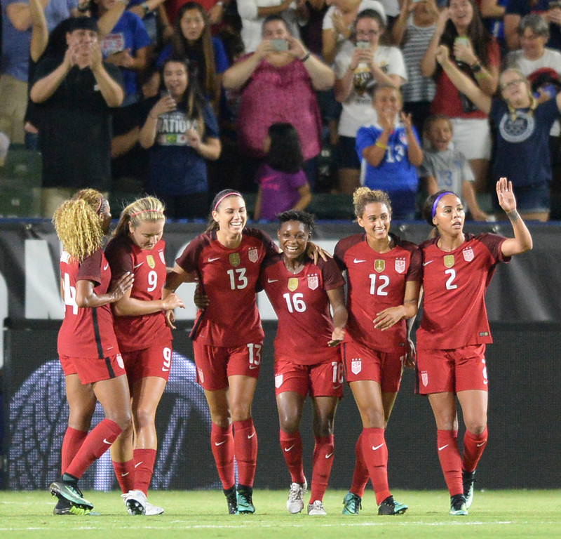 . USA comes together to celebrate Alex Morgan\'s (13) goal on Japan in the final women\'s soccer game of the Tournament of Nations at the StubHub Center Thursday, August 03, 2017, Carson, CA.  USA won 3-0, but Australia took the tournament title. (Photo by Steve McCrank, Daily Breeze/SCNG)