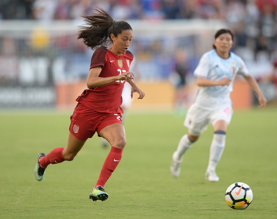 . USA\'s Christen Press (23) moves the ball downfield against Japan in the final womens soccer game of the Tournament of Nations at the StubHub Center Thursday, August 03, 2017, Carson, CA.  USA held a 1-0 lead at halftime. (Photo by Steve McCrank, Daily Breeze/SCNG)