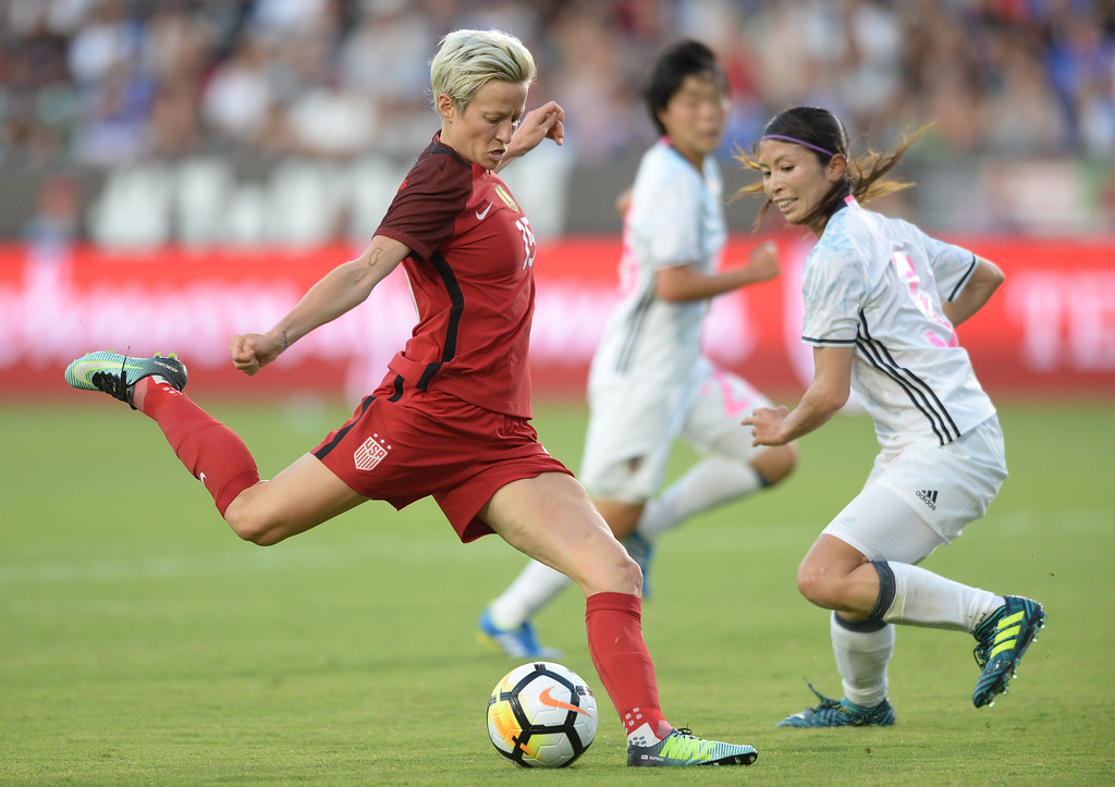 . USA\'s Megan Rapinoe (15) scores a goal after unleashing a powerful kick past Japan\'s Rumi Utsugi (6) in the final womens soccer game of the Tournament of Nations at the StubHub Center Thursday, August 03, 2017, Carson, CA.  USA held a 1-0 lead at halftime. (Photo by Steve McCrank, Daily Breeze/SCNG)